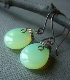 Green Opal Glass Earrings Wirewrapped on Copper by beadstylin