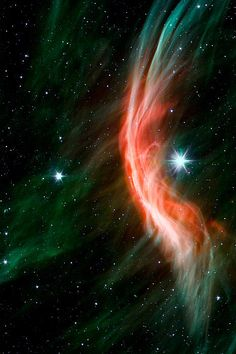 The giant star Zeta Ophiuchi and a veil of space dust.A single image from the Spitzer Space Telescope. Credit NASA/JPL-Caltech