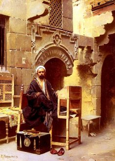 An Egyptian Scribe by Raphael Ambros Oil On Canvas