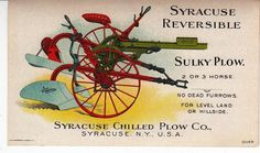 Syracuse Reversible Sulky Chilled Plow Colorful Victorian Trade Card Print on back is great. SOLD $204.50 on 12/31/2014