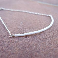 White Beaded Bar Bracelet Skinny Bead Bar by jewelrybycarmal, $18.00