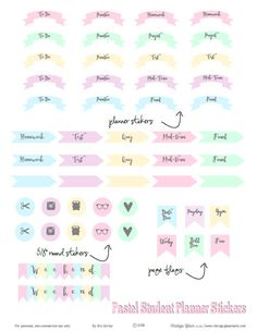 Free printable download of student or academic planner stickers in soft pastel colors. Free for personal use only.