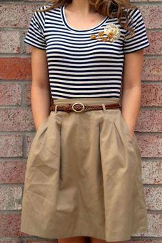 striped t-shirt and tan skirt. so cute!