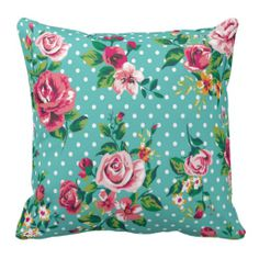 Girly Romantic Roses and Polka Dots Throw Pillows