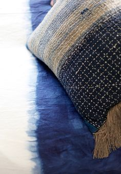 Dip dyed indigo duvet and hand stitched kantha pillow