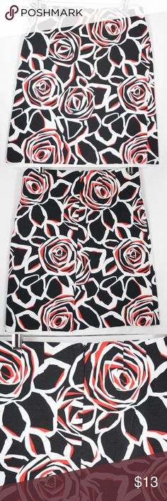 "Jones Wear Black Floral Skirt Sz 4 Petite Stretch ADORABLE black rose floral knee length skirt by Jones New York. No flaws! Very gently worn! - Size: 4P - Waist: 27"" - Inseam: 19 **If you appreciate old school quality - you're in the right place. We don't just sell products, we put time & work into them. AND, we ship FAST! Usually within 1 business day! Thanks for Poshing in my Closet!! 😙 ✌️🌹 Jones Wear Skirts Midi"