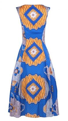 #SheInside Blue Sleeveless Geo Print Rhinestone Embellished Maxi Dress - Sheinside.com