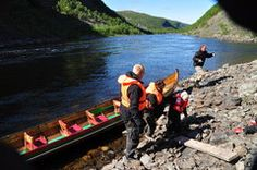 I elvebåt til juvet i Altaelva Alta Norway, Outdoor Activities, Arctic, Europe