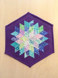 Horizon by Kate Spain in Mini Rock Candy by TalesOfIneptitude Quilted Table Toppers, Quilted Table Runners, Pattern Blocks, Quilt Patterns, Block Patterns, Small Quilts, Mini Quilts, Straight Line Quilting, Straight Lines