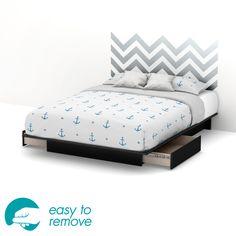 Step One Queen Storage Platform Bed with Chevron Headboard Ottograff Decal