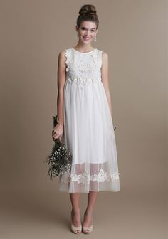 Simple Wedding Dress. Lovely for a low-key outdoor farm wedding.
