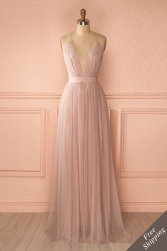 Elif Douceur Robe longue filet blush dos ouvert - Blush mesh maxi dress open back www.1861.ca
