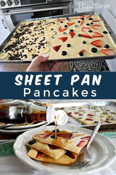 Try Sheet Pan Pancakes as a Genius Breakfast Hack She. Try Sheet Pan Pancakes as a Genius Breakfast Hack Sheet Pan Pancakes Genius Breakfast Recipe dinner recipes for family Comidas Fitness, Breakfast Dishes, Breakfast Pancakes, Gourmet Breakfast, Fluffy Pancakes, German Pancakes, Pancakes In The Oven, Fun Breakfast Ideas, Recipes For Breakfast