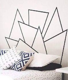 Tête de lit formes géométriques masking tape