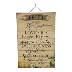 "Fruit of the Spirit Inspirational Reclaimed Wood Sign, 12"" x 18"" Rustic Home Decor Plaque with Hanger bundle sold by Imprints Plus, made by Highland Woodcrafters 45-01612"