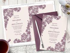 Wedding Invitation Vintage Lace Mauve. DIY by ShishkoTemplates