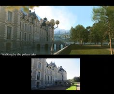 Matte painting with plate used as starting point. Walking by the palace lake