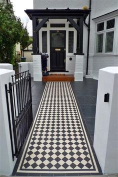 victorian black and white path tiles - Google Search