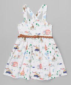 Look at this #zulilyfind! White Fairgrounds Belted Dress - Toddler & Girls #zulilyfinds