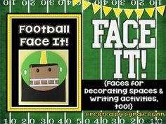 Face It-Football Player {Faces for Decorating Spaces & Writing and Craftivity} Football Bulletin Boards, Cute Bulletin Boards, Writing Topics, Writing Activities, Writing Centers, Sports Theme Classroom, Future Classroom, Classroom Decor, Super Bowl Activities