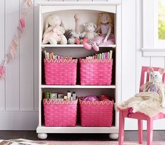 TIP: Invest in adjustable shelving early on. Kids' storage needs change as they grow. When they're younger, larger toys are the norm, but as they grow, they need more space for books or smaller items. Shown here: Catalina 3-Shelf Bookcase ($349, potterybarnkids.com).