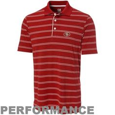 Cutter & Buck San Francisco 49ers Hawthorne Stripe Performance Polo - Scarlet