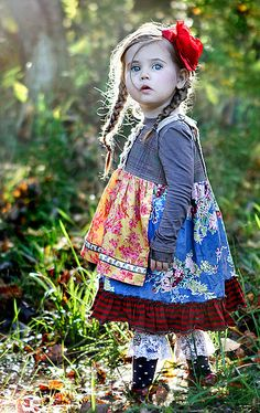 Layering. Patterns and texture. HONESTLY?  too many layers for a little girl on a sunny day; but ADORABLE!