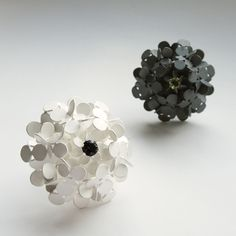 WON, MI SUN  FLOWER RINGS WITH STONES, 2008  SILVER, IOLITE, LEMON CITRINE  45 X 45 X 45mm