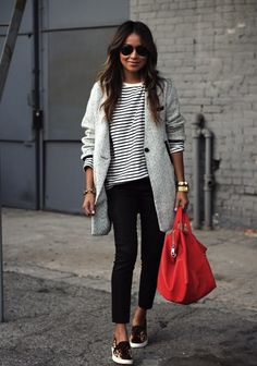 Leopard sneakers + basics + pop of red.