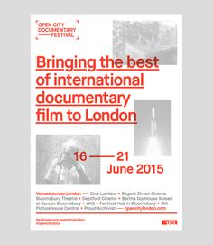 Moving Studio - Branding and motion graphics specialists. Open City Documentary Film Festival Branding London 2015