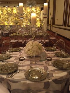 Crystal candlesticks, winter white hydrangea a clean icy feel
