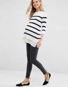 Shop ASOS Maternity Breton Stripe Jumper with Button. With a variety of delivery, payment and return options available, shopping with ASOS is easy and secure. Shop with ASOS today. Asos Maternity, Casual Maternity Outfits, Stylish Maternity, Maternity Fashion, Maternity Dresses, Stylish Outfits, Fashion Outfits, Maternity Styles, Pregnancy Wardrobe