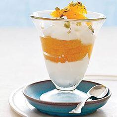 Greek Yogurt Parfait, with honey, pistachios, and citrus fruit. YUM   health.com