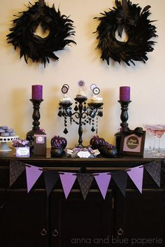 haute Halloween purple and black spooky party by Anna and Blue Paperie dessert table
