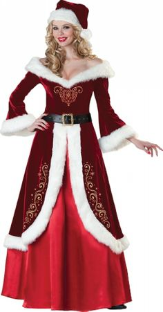 Beautiful deluxe Mrs. Santa Claus Suit This long red dress is a Great Christmas outfit!