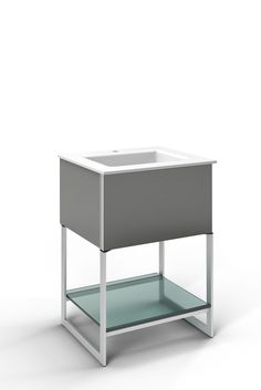 "Robern Adorn 24-1/4"" x 34-3/4"" x 21"" vanity in smoke screen with push-to-open plumbing drawer, night light, towel bar on right side, legs in brushed aluminum and 25"" stone vanity top in quartz white with integrated center mount sink and single faucet hole"