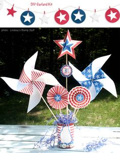 Decorating Ideas for a Fourth of July Table | At Home with Kim Vallee   (never go wrong with pinwheels)