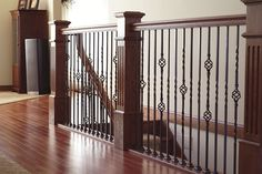 Bad Side Of Craftsman Staircase Wrought Iron Stairs 3 Wrought Iron Stair Railing, Iron Balusters, Stair Handrail, Staircase Railings, Staircase Design, Banisters, Staircases, Staircase Ideas, Craftsman Staircase