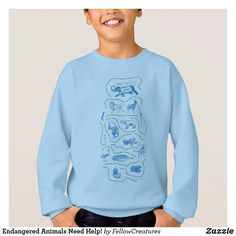 Shop Endangered Animals Need Help! Hoodie created by FellowCreatures. Most Endangered Animals, Printed Sweatshirts, Hoodies, Save The Tiger, Save The Elephants, My Spirit Animal, Orangutan, More Cute, Colorful Shirts