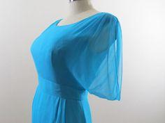 1950s Dress / 1960s Dress / Vintage Aqua Blue Chiffon Wiggle Dress