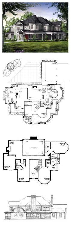 DesertRose,;;Victorian Style COOL House Plan ID: chp-19860   Total Living Area: 4826 sq. ft., 5 bedrooms & 4.5 bathrooms. Amazing floor plan!,;,