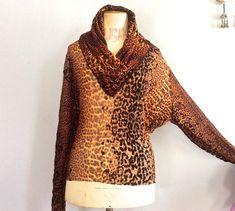 f32363f95553f6 Jean Paul Gaultier Maille leopard print sheer mesh top vintage Gaultier  cheetah cowl neck top vtg JPG top 90s Gaultier dolman sleeve top