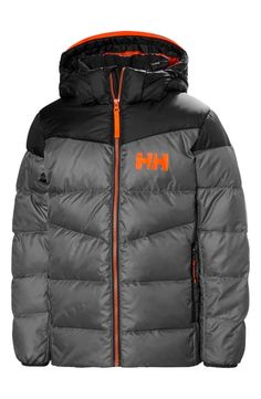 Helly Hansen Kids' Fjord Water Resistant Puffer Jacket In Quiet Shade Puffer Jackets, Winter Jackets, Logo Line, Nordstrom Gifts, Helly Hansen, Hand Warmers, Big Boys, Kids Wear, World Of Fashion