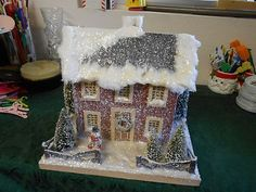 Vintage Large Putz House Glitter Brush Trees Snowman Fence 1950's Big House | eBay