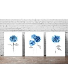 Blue Hydrangea Set of 3 Watercolor Painting, Abstract Flowers Poster, Botanical Wall Decor, Flower Giclee Fine Art Print, Home Wall Decor