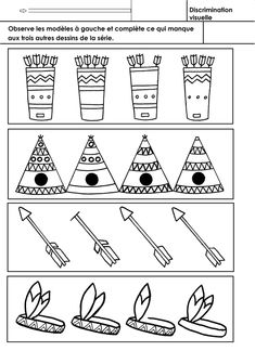 Indians of America, visual discrimination Source by celinegoron Cowboys Vs, Cowboys And Indians, Cabin Crafts, Fun Crafts, Learning Activities, Activities For Kids, American Quilt, Continents, Drawing Sketches