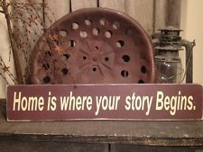 Country Primitive Handmade Wooden Home Is Where Sign Home  Decor