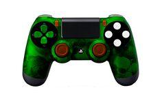 PS4Controller-GreenSkullz   Flickr - Photo Sharing! #PS4controller #PS4 #PlayStation4controller #customcontroller #moddedcontroller #dualshock4