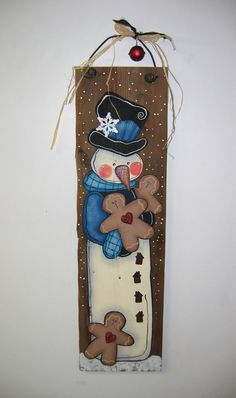 Snowman with Gingerbread Cookies Tole Painted by barbsheartstrokes Christmas Wood Crafts, Snowman Crafts, Primitive Christmas, Christmas Signs, Homemade Christmas, Christmas Snowman, Christmas Projects, Winter Christmas, Holiday Crafts