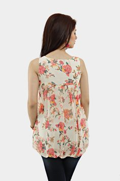 Floral Printed Sequins Net Yoke Tunic